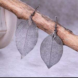 NEW Gunmetal Black Hanging Leaf Earrings - Boho!